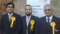 Newly elected Councillor Shoaib Patel (centre) with Cllr Irfan Mustafa,Camapaign Manager (on left) and Cllr Farrukh Islam,Election Agent (On right)