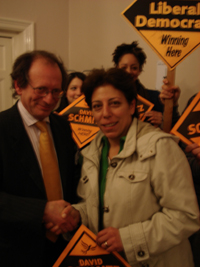 Lib Dem candidate David Schmitz and whistle blowing social worker Nevres Kemal
