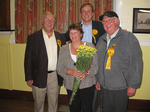 Daryl Henry celebrates election victory in the Colden Common & Twyford, Winchester by-election with ward colleagues Richard Izard and Peter Mason, and Lib Dem parliamentary candidate, Martin Tod.