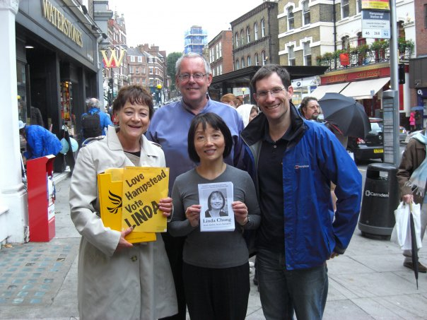 Linda Chung our victor in the Hampstead Town By -Election with Sarah Ludford MEP, Jonathan Fryer and Ed Fordham