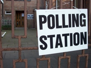 Polling station with sign