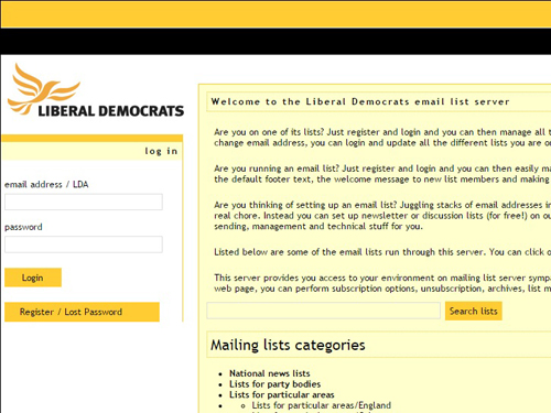 The Lib Dem Lists Server is scheduled to close later this summer