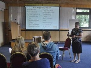 Hilary Stephenson delivering polling day training to Kickstart attendees