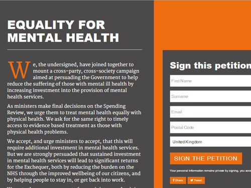 The Equality for Mental Health campaign was launched by Norman Lamb on Monday 2nd November