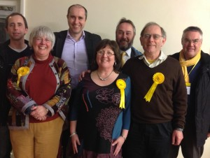 Lorna and the winning Sutton by-election team.