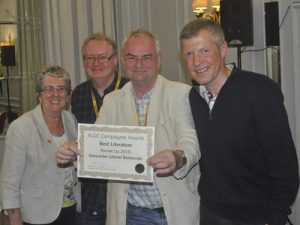Gloucester Lib Dems were our runners-up in this year's Best Literature category