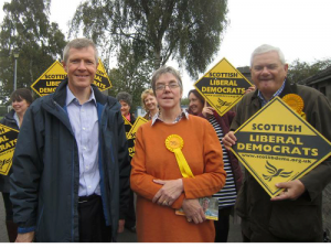 Willie Rennie, Alison Auld, Mike Rubles MSP and the team campaigning in Inverurie