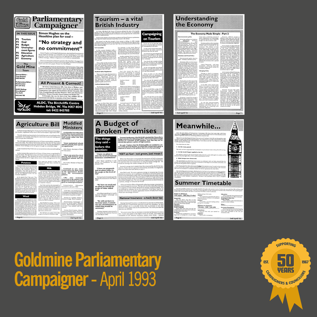 April 1993: Goldmine Parliamentary Campaigner