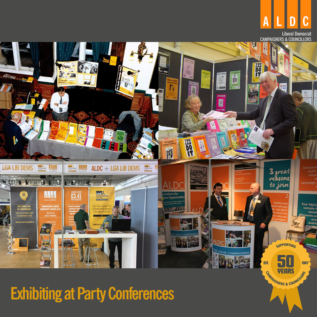Exhibiting at party conferences throughout the years