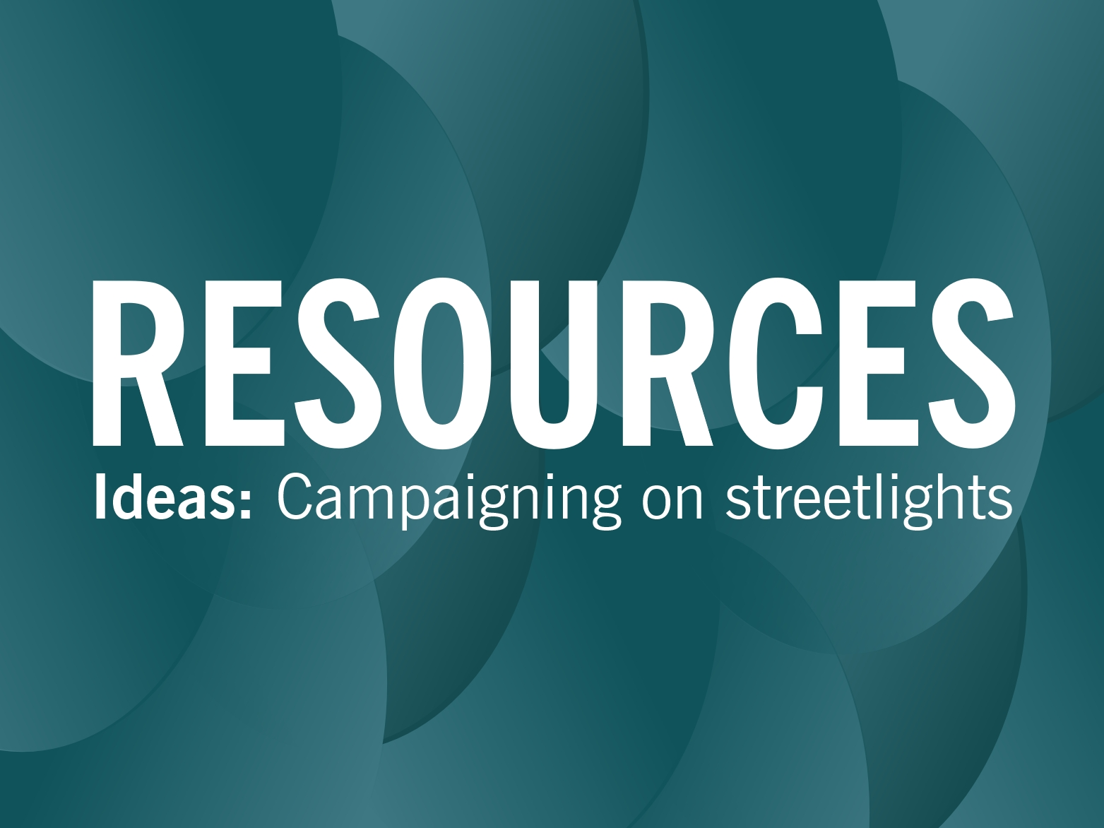 RESOURCES: Sorting out street lights and reporting back