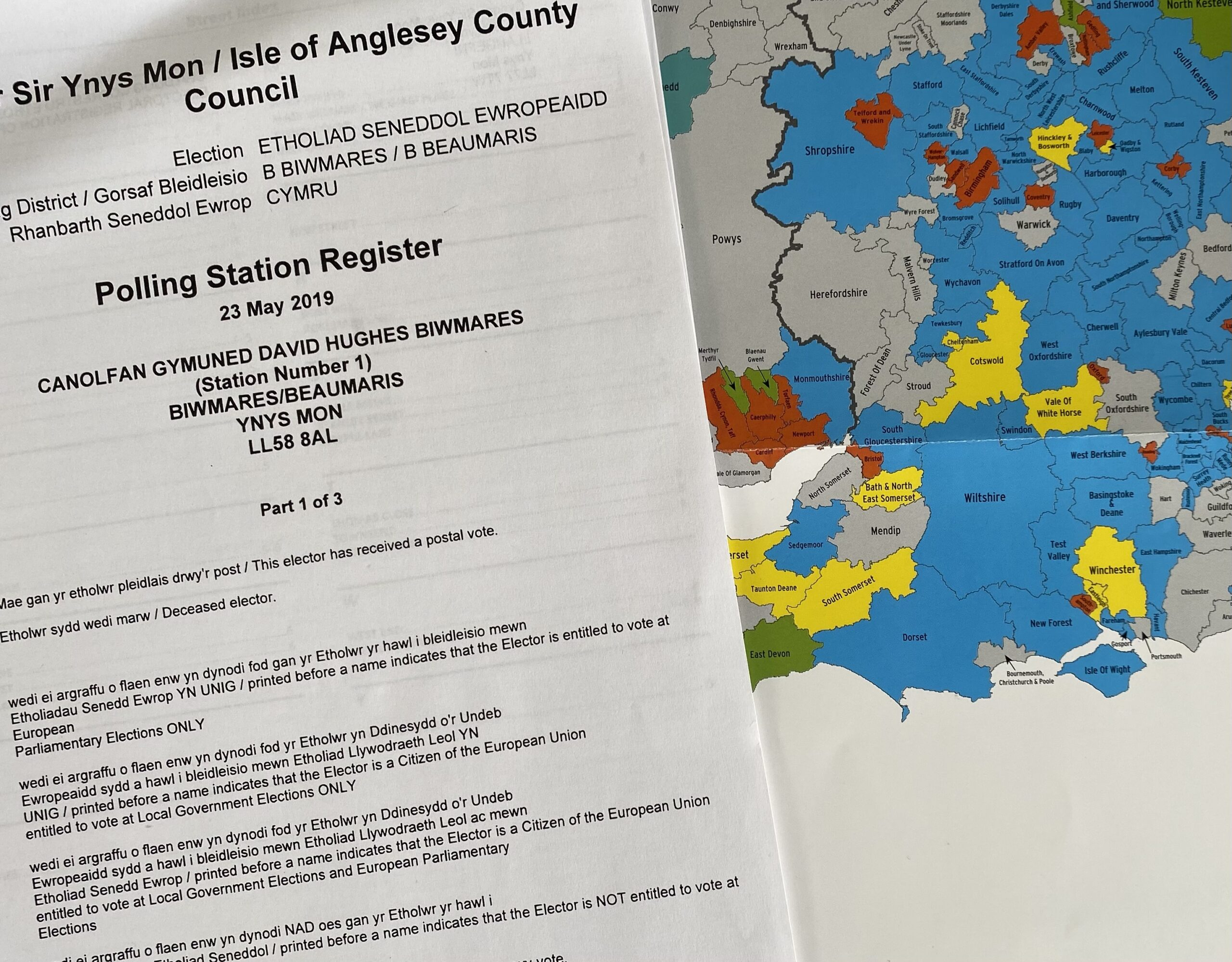 General election marked registers