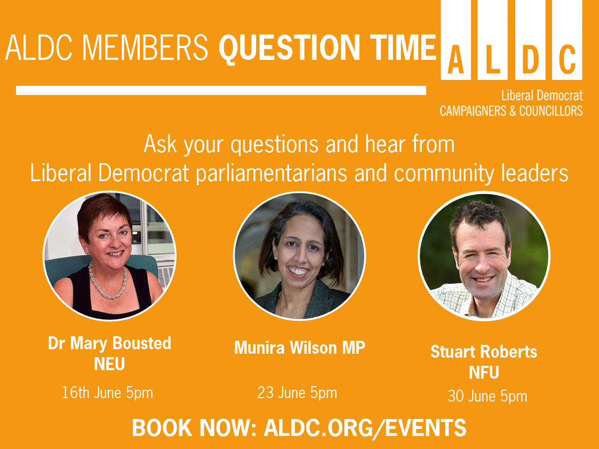New ALDC Question Times – Munira Wilson MP, speakers from Education and Agriculture