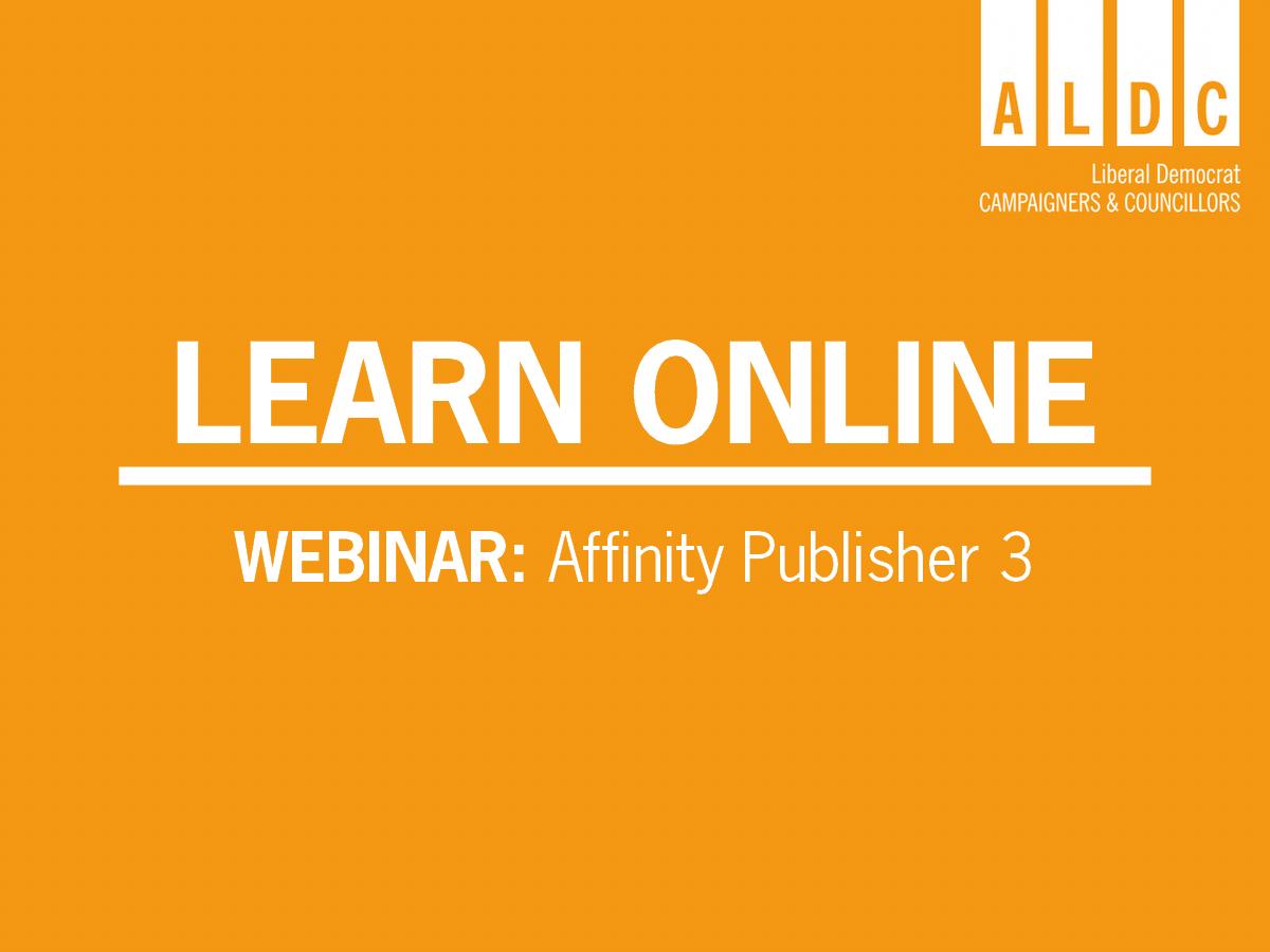 Webinar – Affinity Publisher 3 – Good Leaflet Design: Wed 1 July 2020