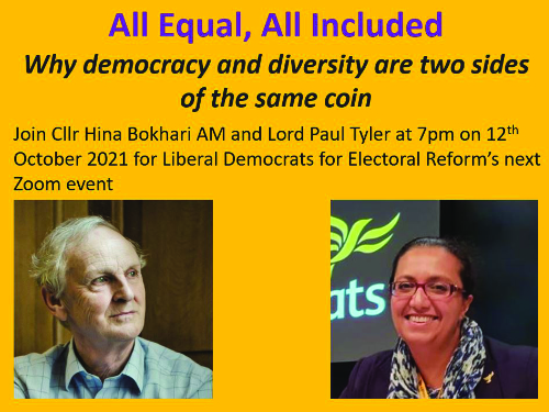 Register for Liberal Democrats for Electoral Reform's next Zoom Event